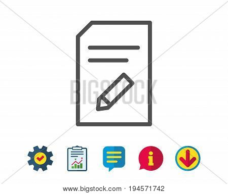 Edit Document line icon. Information File sign. Paper page with pencil concept symbol. Report, Service and Information line signs. Download, Speech bubble icons. Editable stroke. Vector