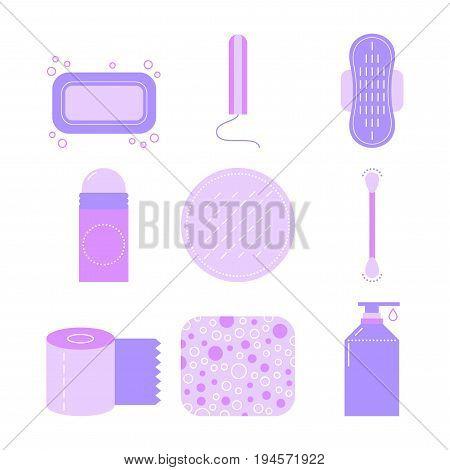 Feminine hygiene. Set of flat icons of care. Vector illustration for design