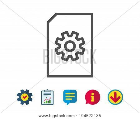 Document Management line icon. Information File with Cogwheel sign. Paper page concept symbol. Report, Service and Information line signs. Download, Speech bubble icons. Editable stroke. Vector