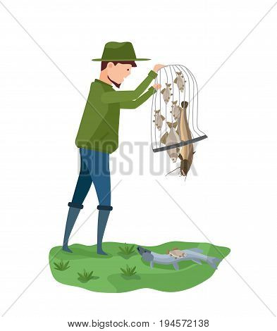 Fisherman standing on bank of river, holding a net in his hands and puts fish on the ground. Illustration isolated in cartoon style.