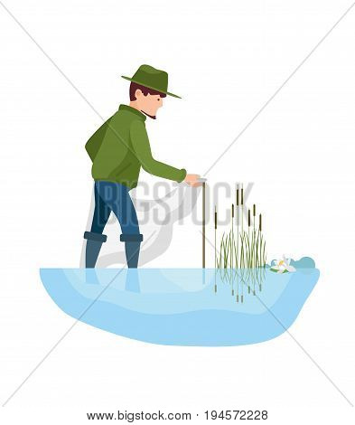 Fisherman's set on fishing in different situations. Fishermen installs the nets on the right place, in the river, near the reeds and lotus. Vector illustration isolated in cartoon style.