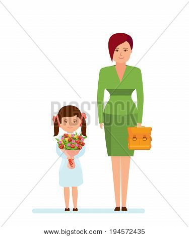 Education in school. Mom and daughter with beautiful bouquet, backpack, in beautiful clothes came to school on first of September. Beginning of the school year. Illustration in cartoon style.