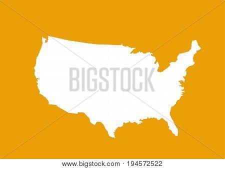 USA map illustration art design on orange background