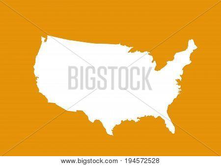 USA map vector illustration on orange background