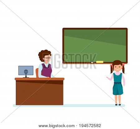 Modern education in school. Girl tells the school information material, in front of the class and the teacher, near the blackboard at the lessons in classroom. Illustration isolated in cartoon style.