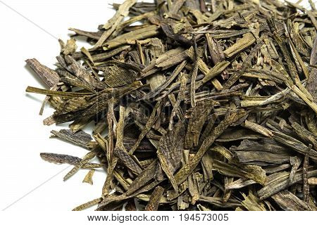 Green tea on white background. Top view. Close up. High resolution