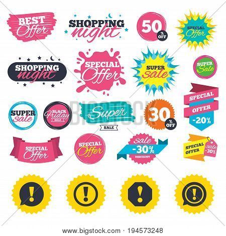 Sale shopping banners. Attention icons. Exclamation speech bubble symbols. Caution signs. Web badges, splash and stickers. Best offer. Vector