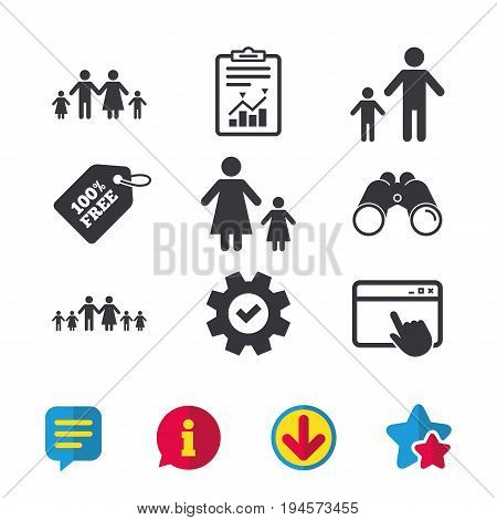 Large family with children icon. Parents and kids symbols. One-parent family signs. Mother and father divorce. Browser window, Report and Service signs. Binoculars, Information and Download icons