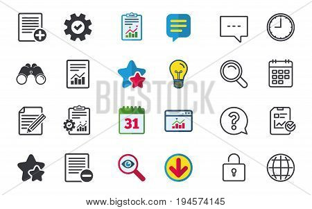 File document icons. Document with chart or graph symbol. Edit content with pencil sign. Add file. Chat, Report and Calendar signs. Stars, Statistics and Download icons. Question, Clock and Globe