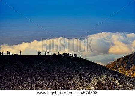 Beautiful Landscape View With Crowd From Kawah Ijen Volcano East Java Indonesia