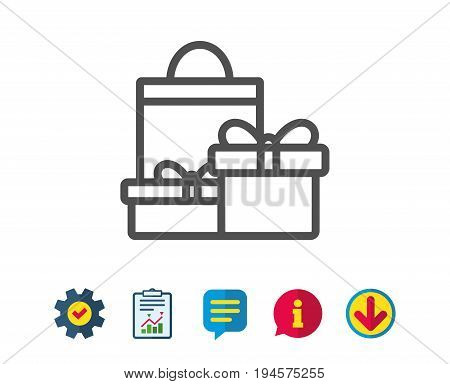 Gift boxes with bag line icon. Present or Sale sign. Birthday Shopping symbol. Package in Gift Wrap. Report, Service and Information line signs. Download, Speech bubble icons. Editable stroke. Vector