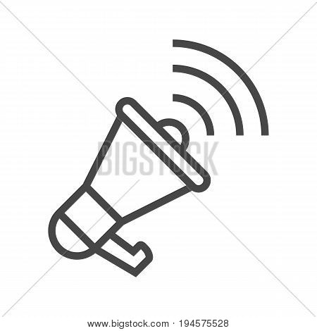 Loudspeaker Thin Line Vector Icon. Flat icon isolated on the white background. Editable EPS file. Vector illustration.