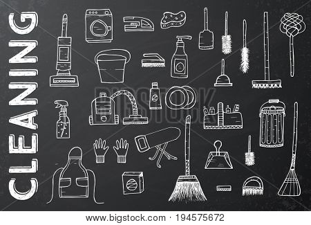 Cleaning Tools. Cleaning service. Cleaning supplies on Black Chalkboard. Hand Drawn Cleaning products.