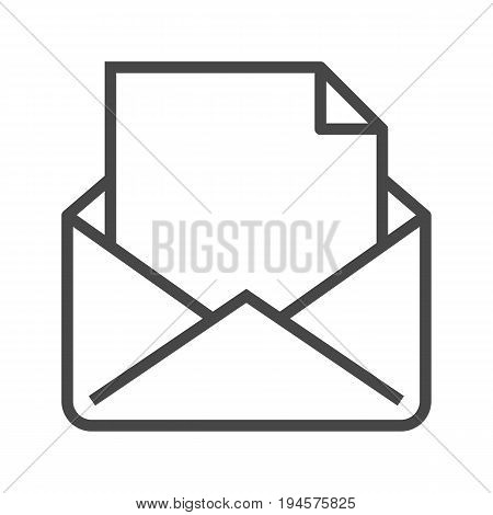 Mail with Massage Thin Line Vector Icon. Flat icon isolated on the white background. Editable EPS file. Vector illustration.