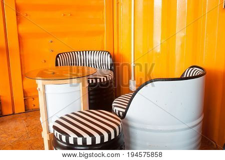 Coffee table in black and white color in Container style coffee shop