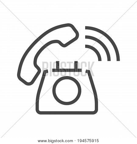 Phone Thin Line Vector Icon. Flat icon isolated on the white background. Editable EPS file. Vector illustration.