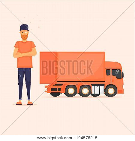Truck driver with his lorry. Flat design vector illustration.