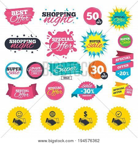 Sale shopping banners. Handshake icons. World, Smile happy face and house building symbol. Dollar cash money. Amicable agreement. Web badges, splash and stickers. Best offer. Vector