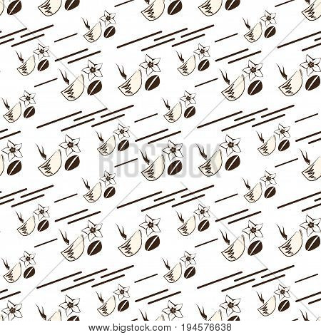 Seamless coffee pattern on a light background with brown lines in sketch style