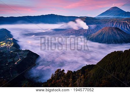 Scenic Landscape During Sunrise At Bromo Tengger Semeru National Park From Viewpoint On Mount Penanj