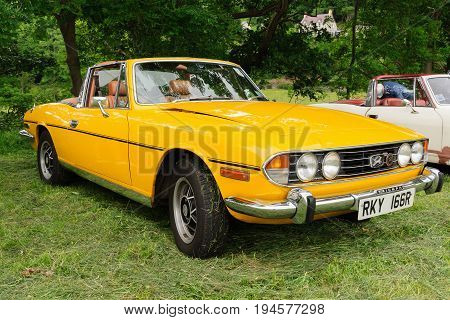 Llangollen Wales UK - July 1 2017: Triumph Stag sports tourer convertible a classic British 2+2 car built from 1970 to 1978 at a vintage vehicle rally