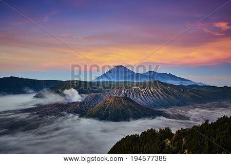 Wonderful View During Sunrise In Bromo Tengger Semeru National Park, Indonesia