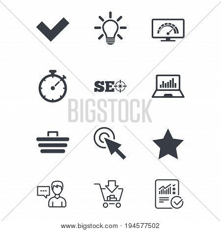 Internet, seo icons. Bandwidth speed, online shopping and tick signs. Favorite star, notebook chart symbols. Customer service, Shopping cart and Report line signs. Online shopping and Statistics