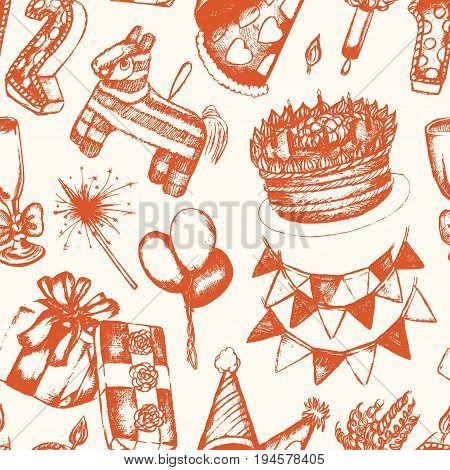 Happy Birthday - orange and white vector hand drawn seamless pattern. Realistic gift, cap, flag, cake, balloon, color wheel, candle number, Bengal light, pop gun, pinyata. Celebrate your birth.