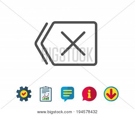 Delete line icon. Remove sign. Cancel or Close symbol. Report, Service and Information line signs. Download, Speech bubble icons. Editable stroke. Vector