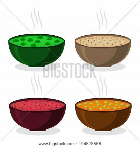 Abstract vector illustration of logo ceramic bowl, wide plate is filled with various homemade soups.