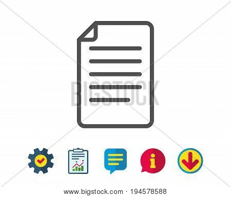 Document Management line icon. Information File sign. Paper page concept symbol. Report, Service and Information line signs. Download, Speech bubble icons. Editable stroke. Vector