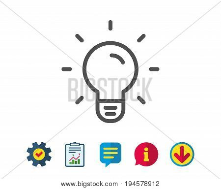 Light Bulb line icon. Lamp sign. Idea, Solution or Thinking symbol. Report, Service and Information line signs. Download, Speech bubble icons. Editable stroke. Vector