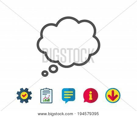 Comic Speech bubble line icon. Chat sign. Communication or Comment symbol. Report, Service and Information line signs. Download, Speech bubble icons. Editable stroke. Vector