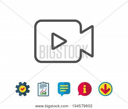 Video Camera line icon. Movie or Cinema sign. Multimedia symbol. Report, Service and Information line signs. Download, Speech bubble icons. Editable stroke. Vector