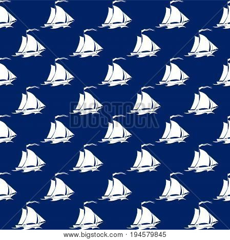 Seamless Travel Pattern with Sailing Vessel , Marine Tourism Concept , Vector Illustration