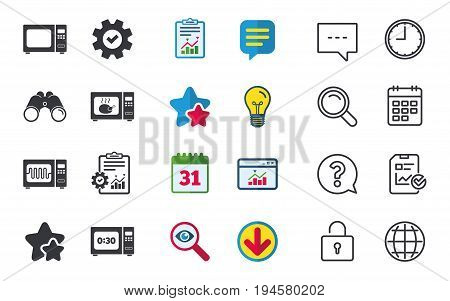 Microwave oven icons. Cook in electric stove symbols. Grill chicken with timer signs. Chat, Report and Calendar signs. Stars, Statistics and Download icons. Question, Clock and Globe. Vector