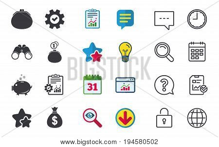 Wallet with cash coin and piggy bank moneybox symbols. Dollar USD currency sign. Chat, Report and Calendar signs. Stars, Statistics and Download icons. Question, Clock and Globe. Vector