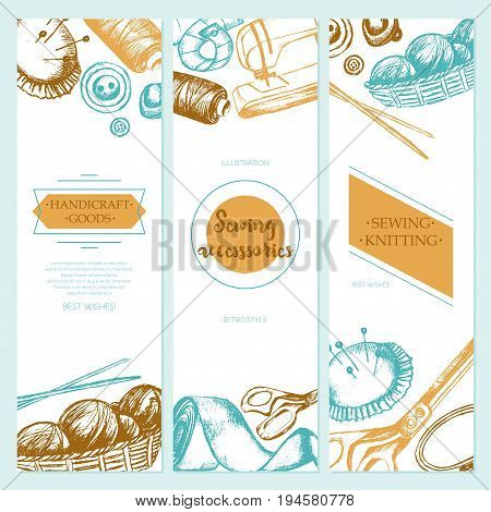 Sewing Accessories - color vector drawn template banner with copy space. Realistic thread spool, holder, sewing machine, silk band, knitting needle, tape-line, tambour, basket of wool, scissors, button