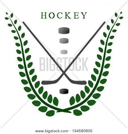 Abstract vector illustration logo game hockey, flying black puck, stick closeup on background.
