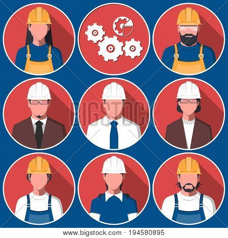 Set of flat avatars of men and women in hard hat. Male and female silhouettes of engineers for user profile picture. Engineering workers vector illustration.