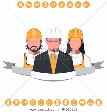 Male and female silhouettes of engineers with icons isolated on white background. Engineering team, faceless avatars of man and woman. Flat vector illustration.