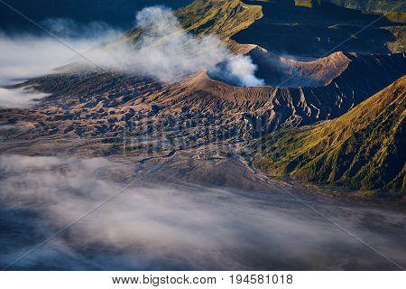 Scenic Landscape And Foggy In Bromo Tengger Semeru National Park, Indonesia