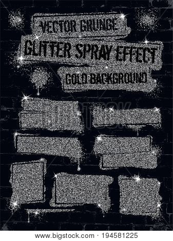 Various glitter spray paint graffiti on brick wall. Frame with silver sparkles confetti or like glitter gel paint. Shine spray grunge background.