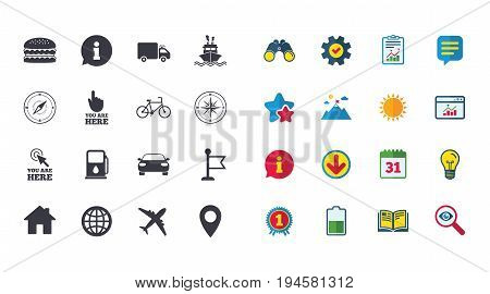 Set of Navigation and Gps icons. Windrose, Compass and Burger signs. Bicycle, Ship and Car symbols. Location pointer and flag. Calendar, Report and Browser window signs. Vector