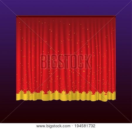 Curtains - realistic vector red drapes. Gradient background. High quality clip art for presentations, banners and flyers, depicting cinema, concert and prize award illustrations.