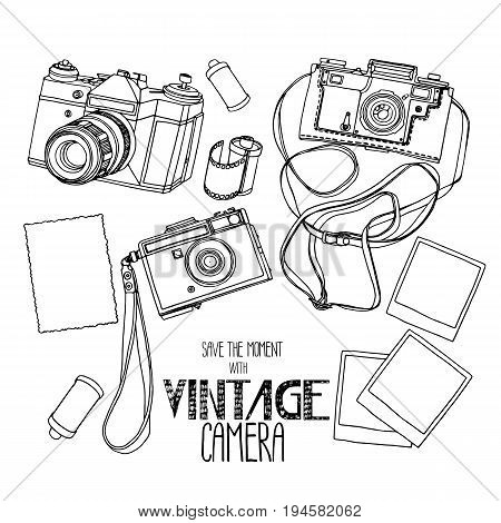 Collection of vintage reflex hand drawn cameras . Vector design elements isolated on white background