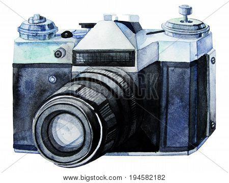 Watercolor vintage SLR camera . Illustration isolated on white background. Retro mood