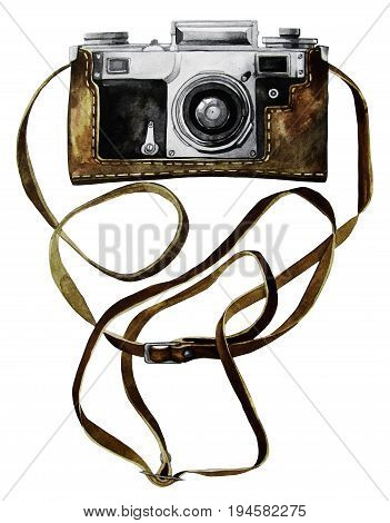 Watercolor vintage SLR camera in leather case. Front view. Ilustration isolated on white background