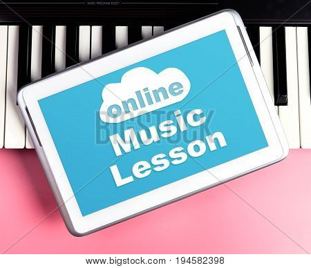 Online Music lesson on tablet screen with music keyboard