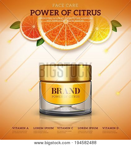 Moisture cream based citrus. Cosmetic ads template. Skin care cosmetic cream power of citrus. cream bottle Vector illustration for cosmetic ads or magazine.